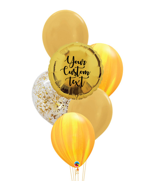 Personalised Marble-lous Balloons Bouquet - Metallic Gold
