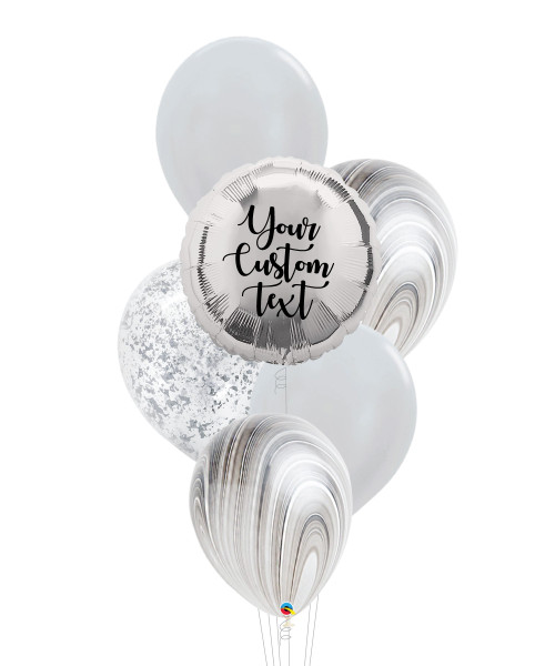 Personalised Marble-lous Balloons Bouquet - Metallic Silver