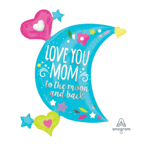 Love You Mom Moon Foil Balloon (32inch)