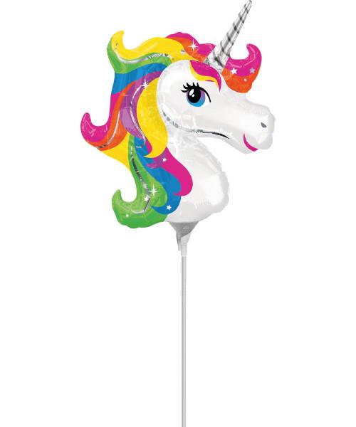 [Rainbow Unicorn] Mini Rainbow Unicorn Foil Balloon with stick (14inch)