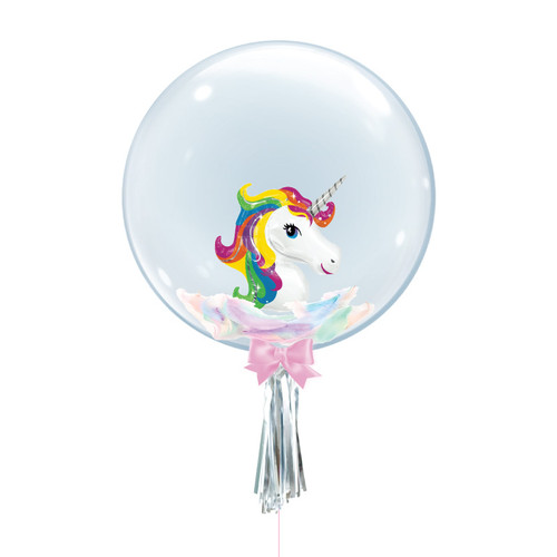 "24"" Crystal Ball Balloon - Feathers & Rainbow Unicorn Foil Balloon Stuffed"