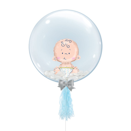 "24"" Crystal Ball Balloon - Feathers & Sitting Baby Foil Balloon Stuffed"