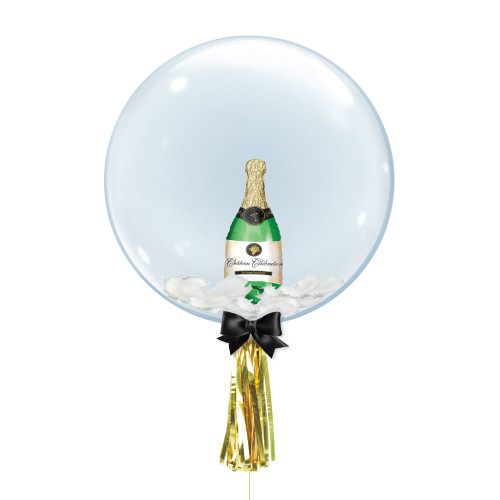 "24"" Crystal Ball Balloon - Champagne Bottle Foil Balloon Stuffed"