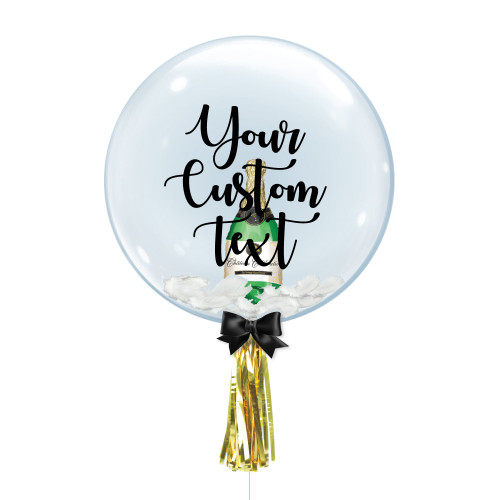"24"" Personalised Crystal Ball Balloon - Champagne Bottle Foil Balloon Stuffed"