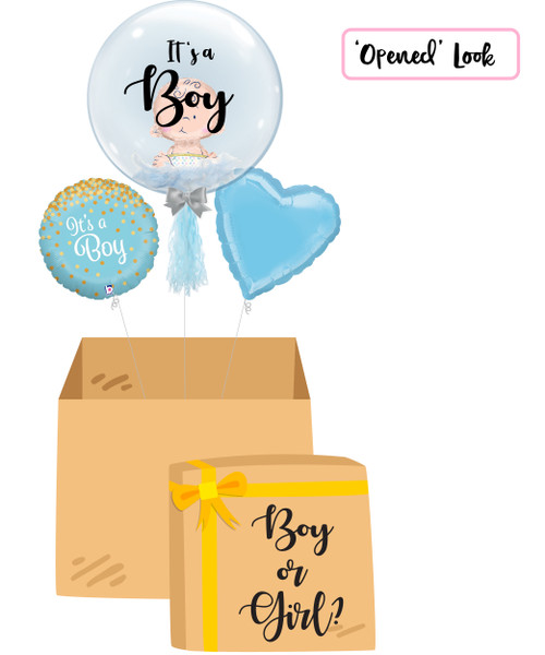 "[Gender Reveal Balloon Surprise Box] - 24"" Crystal Clear Transparent Balloon - Mini Sitting Baby Balloon Stuffed (It's a Boy)"