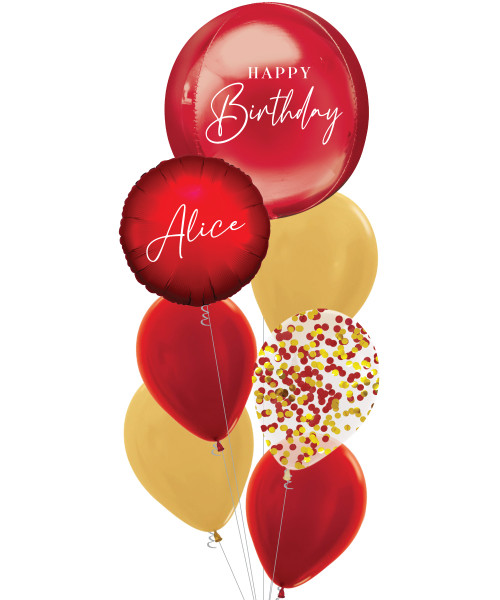 [Oliver Orbz] Personalised Oliver Orbz Balloons Bouquet - Red