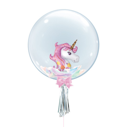 "24"" Crystal Ball Balloon - Magical Pink Unicorn Foil Balloon Stuffed"