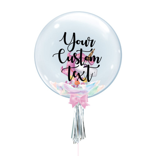 "24"" Personalised Crystal Ball Balloon - Magical Pink Unicorn Foil Balloon Stuffed"
