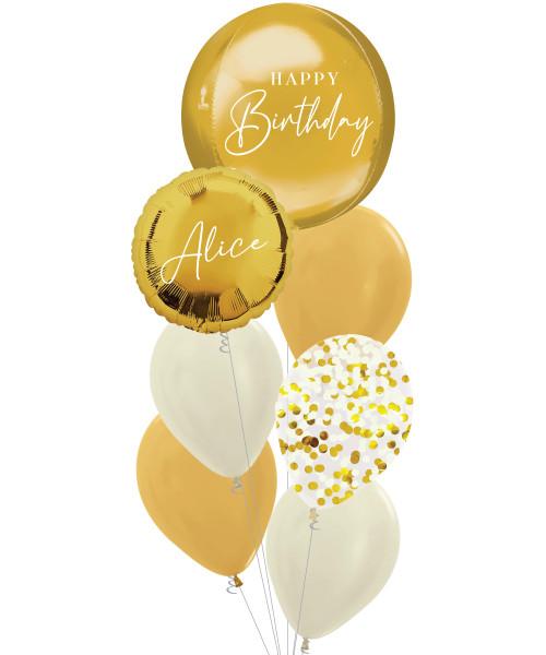 [Oliver Orbz] Personalised Oliver Orbz Balloons Bouquet - Gold