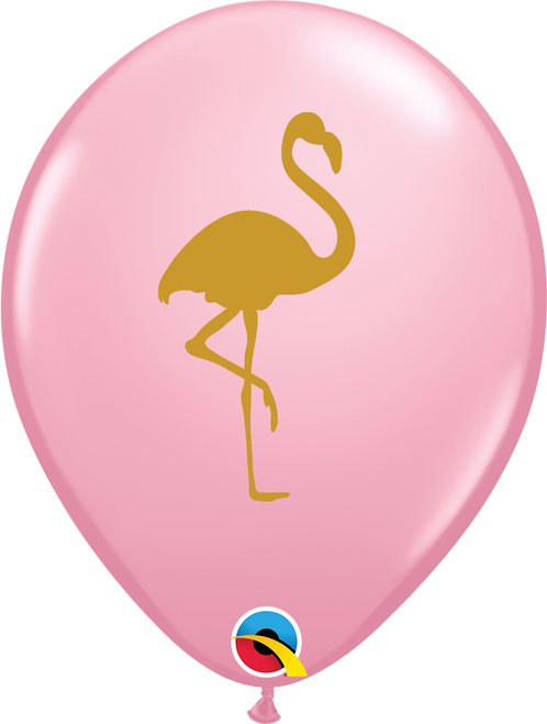"11"" Pink Flamingo Round Latex Balloon"