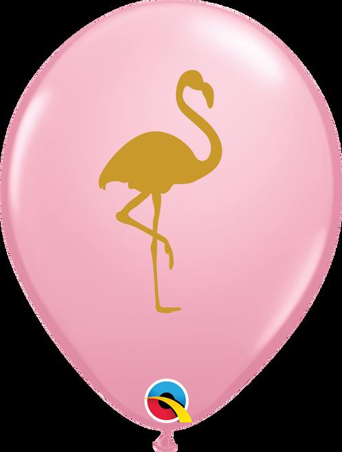 "11"" Pink Flamingo Round Latex Balloon"
