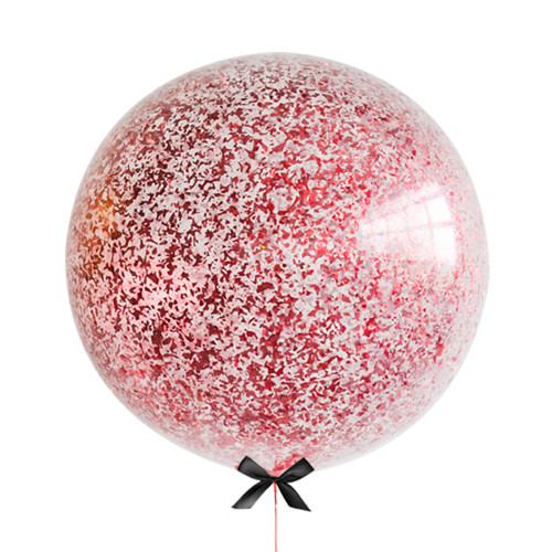 36'' Jumbo Perfectly Round Jumbo Balloon - Metallic Red Confetti