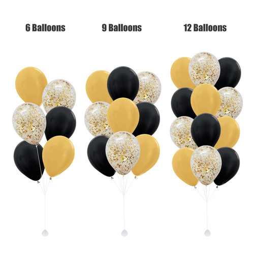 (Create Your Own Helium Bouquet) 12'' Metallic Confetti Balloons Cluster - Metallic Color