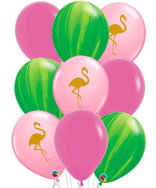 [Flamingo] Pink Flamingo Leaf Marble Balloons Bouquet