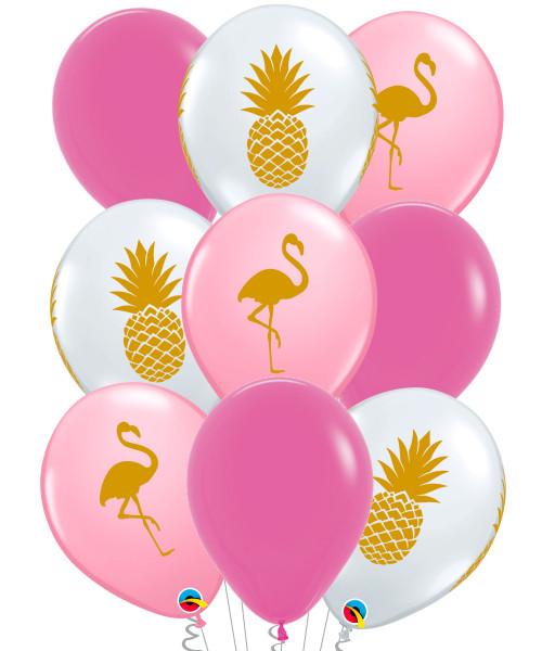 [Flamingo] Pink Flamingo & Pineapple Latex Balloons Bouquet