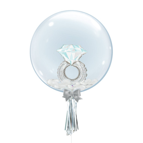 "24"" Crystal Ball Balloon - Platinum Wedding Ring Foil Balloon Stuffed"