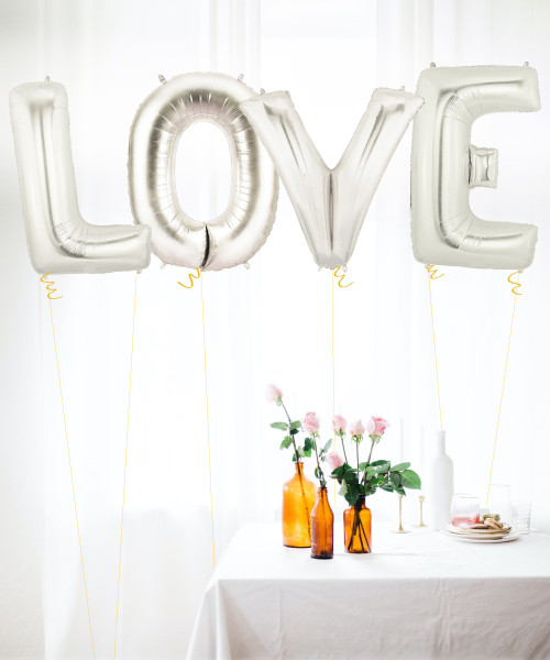 "40"" Giant Alphabet Foil Balloon (Silver) - A Set of letter ""LOVE"""