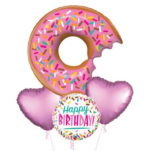 Happy Birthday Bit Donut & Sprinkles Balloons Bouquet
