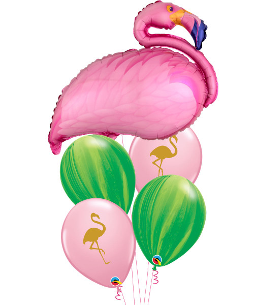 [Flamingo] Flamingo Beach Leaf Marble Balloons Bouquet