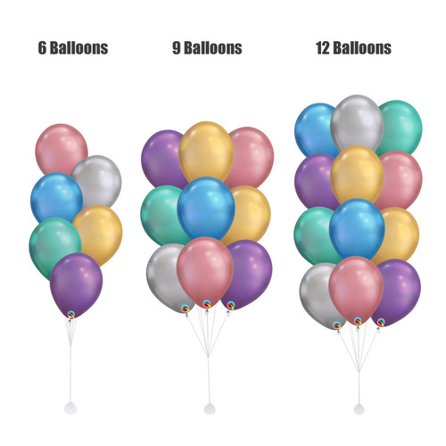 "(Create Your Own Helium Bouquet) 11"" Chrome Latex Balloons Cluster"