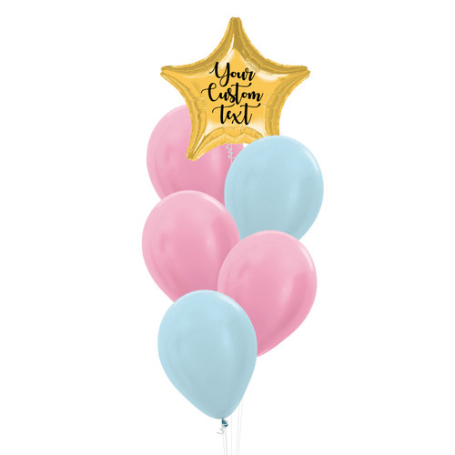 Personalised You're A Star Balloons Cluster - Metallic Color