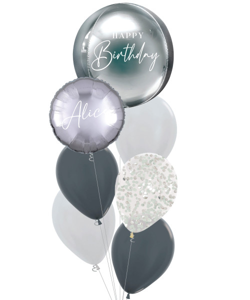 [Oliver Orbz] Personalised Oliver Orbz Balloons Bouquet - Silver