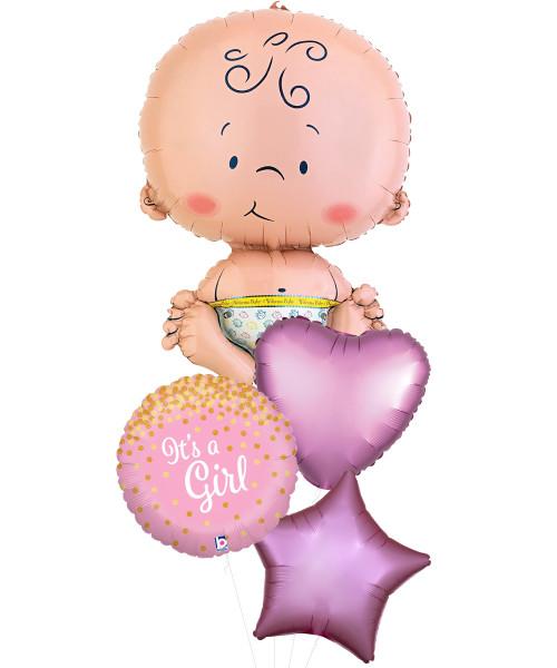 Newborn Baby Glittering Confetti Balloons Bouquet - It's A Girl