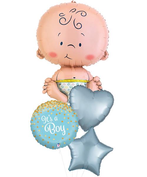 [Baby] Newborn Baby Glittering Confetti Balloons Bouquet - It's A Boy