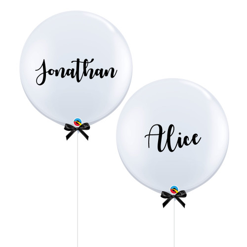 "36"" Personalised Bride & Groom Name Set, Jumbo Perfectly Round Latex Balloons"
