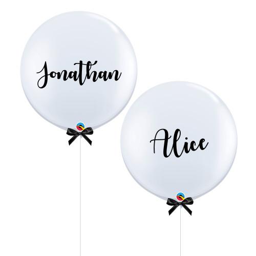 "36"" Jumbo Personalised Bride & Groom Name Balloon Set"