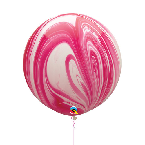 "30"" Jumbo Marble Pattern Latex Balloon - Strawberry Marble"