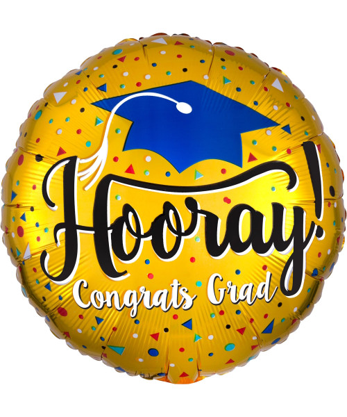 [Graduation] Hooray Grad Gold Foil Balloon (18inch)