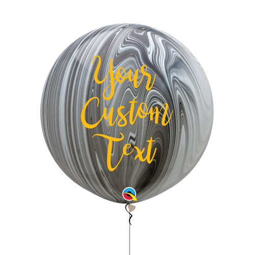30'' Personalised Jumbo Marble Pattern Latex Balloon - Black & White Marble