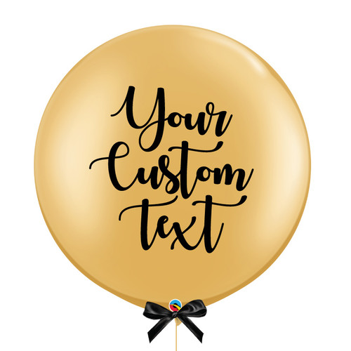30'' Personalised Giant Metallic Perfectly Round Latex Balloon - Gold