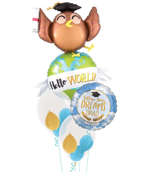 Hello World Owl Follow Your Dreams Grad Balloons Bouquet