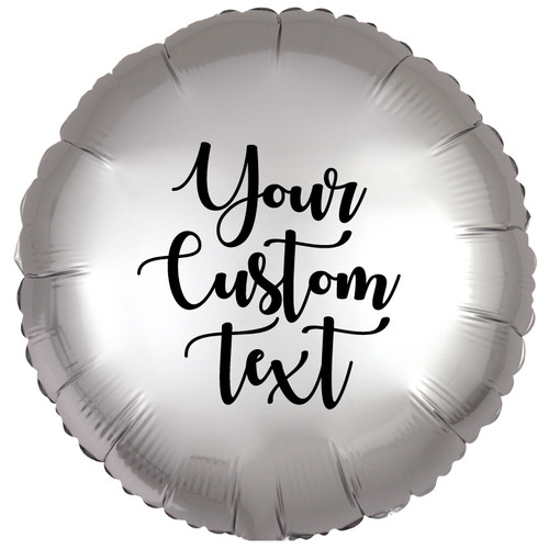 """18"""" Personalised Satin Luxe Round Foil Balloons - Platinum"""