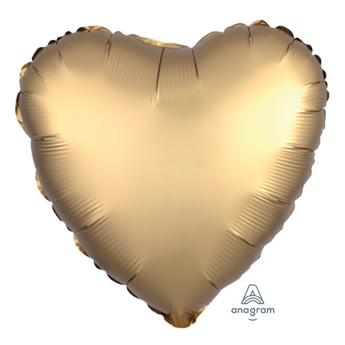 "18"" Satin Luxe Heart Foil Balloon - Gold Sateen"