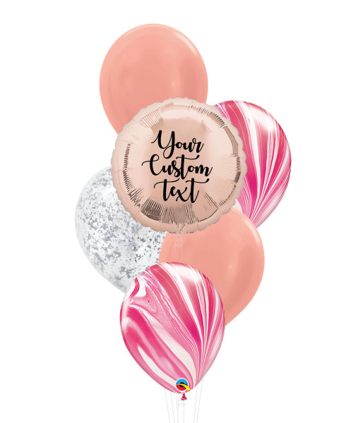 Personalised Marble-lous Balloons Bouquet - Rose Gold