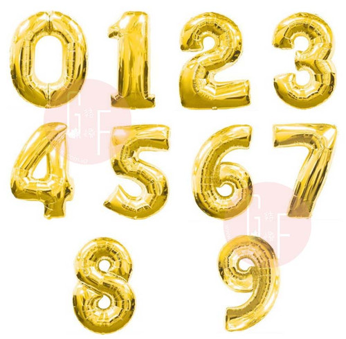"16"" Small Number Foil Balloons (Gold) - Number '0'-'9'"