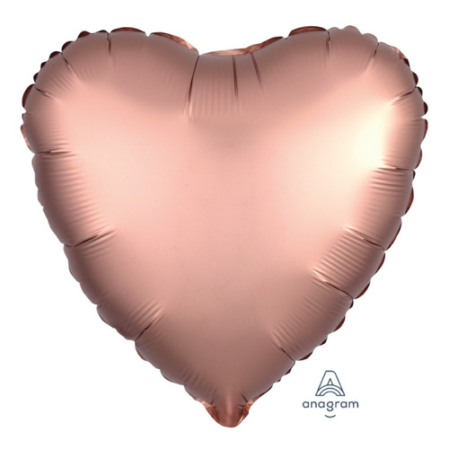 "18"" Satin Luxe Heart Foil Balloon - Rose Copper"