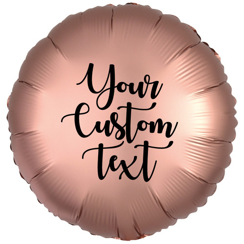 "18"" Personalised Satin Luxe Round Foil Balloon - Rose Copper"
