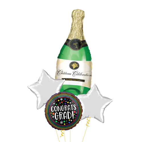 [Graduation] Champagne Bottle Congrats Grad Colorful Circles Balloons Bouquet