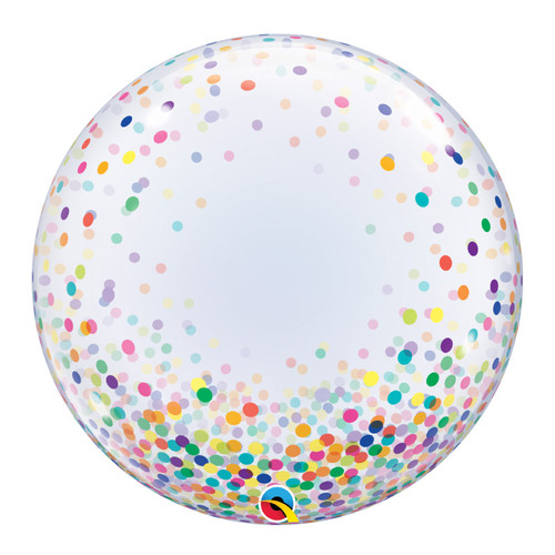 "24"" Crystal Clear Transparent Confetti Dots Printed Balloon - Colorful Confetti Dots"