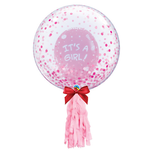 "24"" Crystal Clear Transparent Pink Confetti Dots Printed Balloon - It's A Girl Latex Balloon Stuffed styled with 1pc light pink tassel tail"