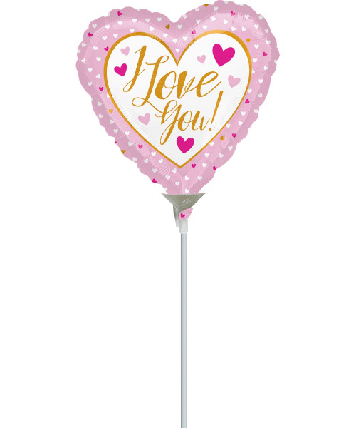 [Love] Mini I Love You Gold & Pink Foil Balloon 9inch with Stick