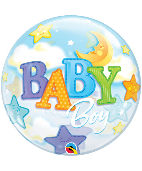 "[Ultra Clear Bubble] 22""/56cm Baby Boy Moon & Stars Balloon"