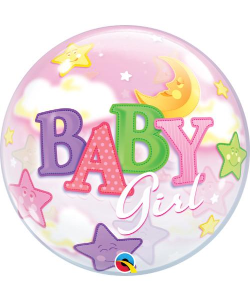 "22""/56cm Baby Girl Moon & Stars Balloon"