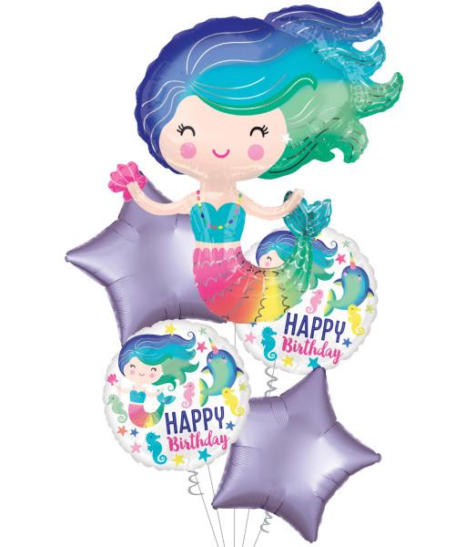[Mermaid] Colorful Mermaid Happy Birthday Balloons Bouquet