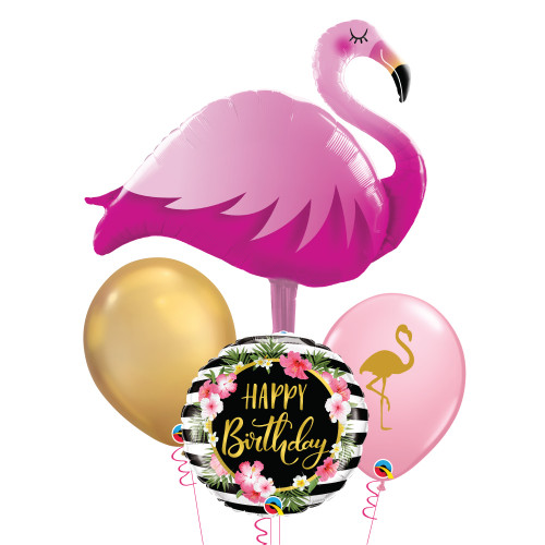 Pink Flamingo Birthday Hibiscus Stripes Balloons Bouquet