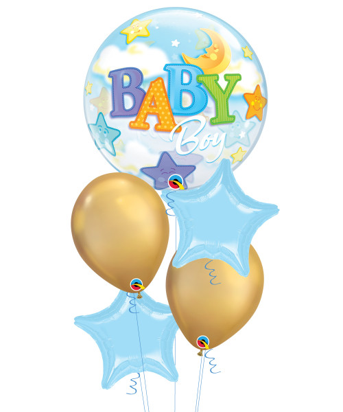 [Baby] Baby Boy Moon & Stars Chrome Gold Bubble Balloons Bouquet